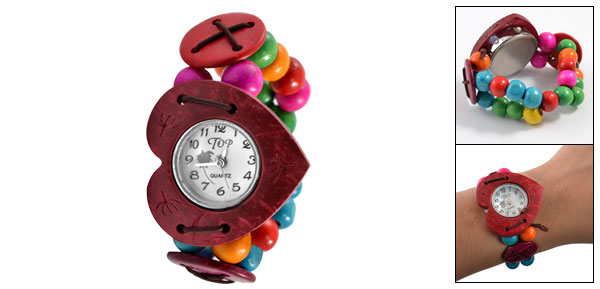 Lady Girl Colorful Wooden Beads Elasticated Band Heart Design Dark Red Case Bracelet Watch