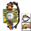 Yellow Black Zebra Pattern Square Wooden Shell Colorful Beaded Ba...