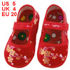 Pair Embroidery Floral Pattern Hook Loop Fastener Red Toddler Sho...