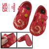 2 Pcs Gold Tone Phoenix Pattern Red Baby Crib Infant Shoes