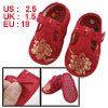 Pair Embroidery Flower Pattern T Strap Red Baby Crib Infant Shoes