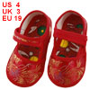 Pair Gold Tone Phoenix Pattern Red Baby Boy Girl Toddler Shoes US...