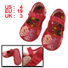 US 4 Embroidery Floral Pattern Red Baby Crib Toddler Shoes