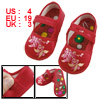 Pair Sewing Floral Pattern Hook Loop Fastener Red Toddler Shoes U...