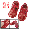 Pair Gold Tone Dragon Phoenix Pattern Red Baby Toddler Shoes US 5