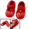 Pair Embroidery Gold Tone Dragon Pattern Red Baby Crib Infant Sho...