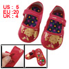 Pair Gold Tone Floral Pattern Hook Loop Fastener Red Toddler Shoe...
