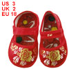 Pair Sewing Floral Pattern Red Baby Crib Infant Shoes US 3