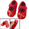 US 2.5 Embroidery Flower Pattern Red Baby Crib Infant Shoes
