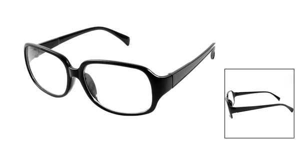 Lady Black Arms Full Rim Clear Lens Plain Glass Eyeglasses