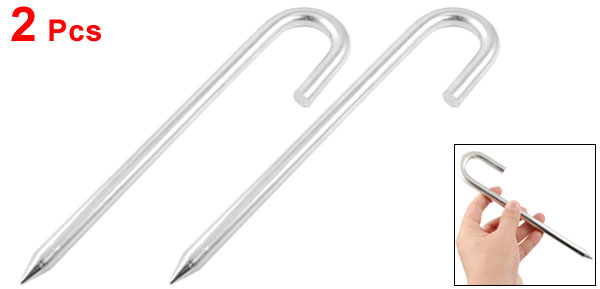 2 Pcs Outdoor 10mm Dia Round Metal Bent Top Hook Tent Peg Stake Nail