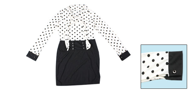Women Black Dots Print Long Sleeve Bowknot Front Tight Mini Dress w Waistand XS