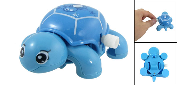 Blue Plastic Headshake Turtle Wind Up Clockwork Toy for Children