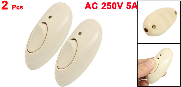 AC 250V 5A Beige Plastic LED Indicator In-Line Cord Light Switch 2 Pcs