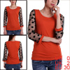 Women Orange Stretchy See Through 3/4 Sleeve Dots Decor Scoop Nec...