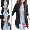 Women Black Front Opening Long Sleeve Spring Sash-waist Coat S