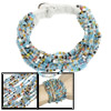 Women Knitting Button Clousre Beaded Multi Strand Bracelet Blue