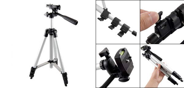 Silver Tone Black Camera Video Camcorder 4 Section Foldable Tripod Support Stand Holder 20.9
