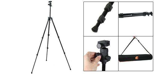 Black Rotary Head Camera Video Camcorder Aluminum Alloy Tripod Support 4.9Ft Height