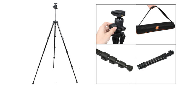 5.2Ft Height Black 4 Section Legs Video Camcorder Camera Aluminum Alloy Tripod Support
