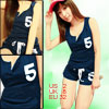 Women Dark Blue Split Neck Print Number 5 Tank Shirt with Drawstr...