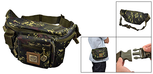 Camouflage Pattern Zipper Closure 7 Compartments Waist Bag for Men