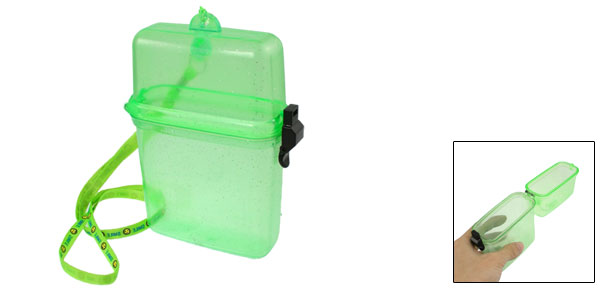 Green Plastic Water Resistant Clear Phone Case w String for Swimming