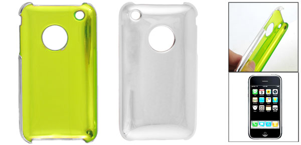 Silver Tone Glazed Hard Plastic Back Case Cover for Apple iPhone 3G