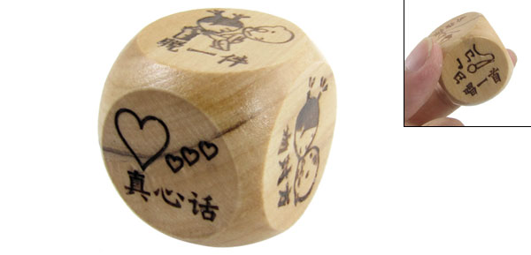 Wood Wooden Musical Note Print Playing Game Dice Cube Toy