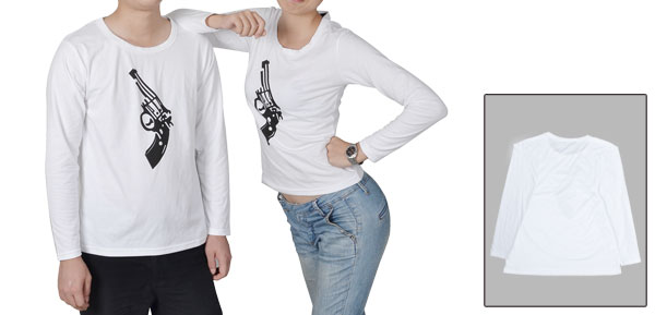 White Stretchy Gun Printed Long Sleeve Round Neck Pullover Tee Shirt Tops for Couple