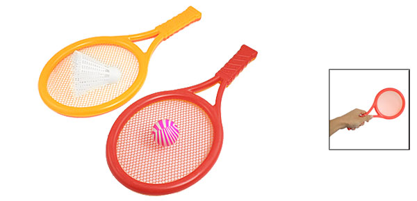 Orange Red Plastic Tennis Racket Toy Play Game Set 4 in 1 for Children