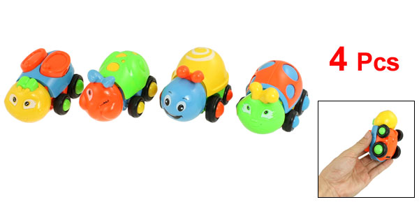 4 Pcs Colorful Plastic Cartoon Animal Pull Back Car Toy