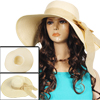 Woman Beige Wide Brim Floppy Fold Summer Beach Sun Hat Cap