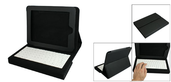 Black Faux Leather Protective Bag Pouch Case w Keyboard for Apple iPad