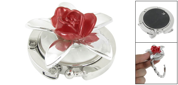 Red Flower Decor Silver Tone Handbag Holder Hook for Lady