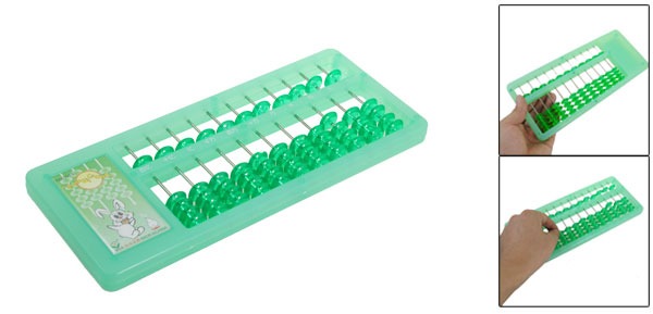 Clear Green Beads Plastic Calculation Soroban Japanese Abacus