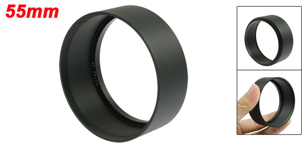 Replacement Screw in Mount 55mm Camera Metal Lens Hood Black