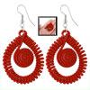Red Nylon Spiral Swirl Teardrop Shaped Pendant Fish Hook Earrings...