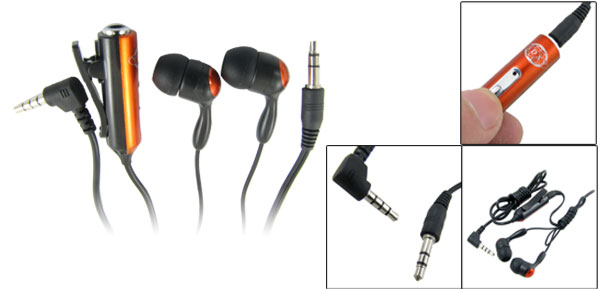 Black Orange 3.5mm Plug In Ear Earphone w Microphone for Nokia N95