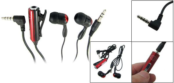 Black Red Silicone Earbuds In Ear Earphone w Microphone for Nokia N95