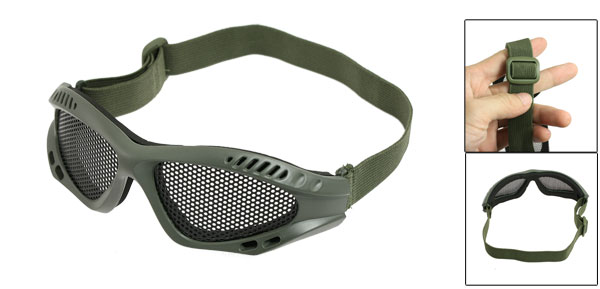 Black Metal Mesh Lens Elastic Strap Goggle Olive Green for War Game