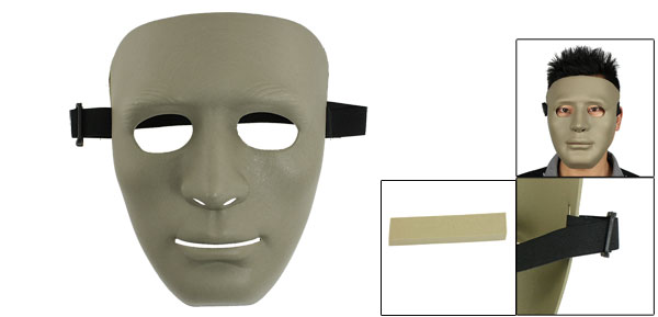 Airsoft War Game Adjustable Black Elastic Band Full Face Plastic Plain Mask Gray