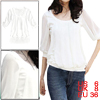 Allegra K Woman Pleated Neckline Detail Panel Stretchy Tee Tops White S