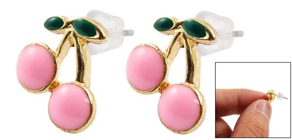 Pair Pink Green Cherry Shape Craft Studs Earrings for Lady Girl