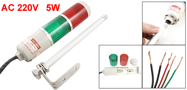 AC 220V Red Green LED Bulb Tower Industrial Signal Warning Light