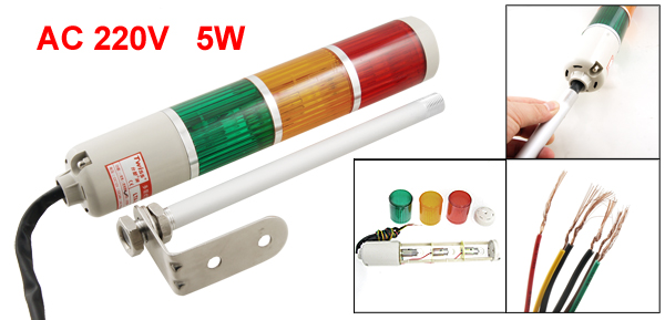 AC 220V Yellow Red Green Bulb Tower Industrial Signal Warning Light
