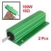 2 Pcs Green Aluminum Housed Wirewound Resistors 100W 18 Ohm 5%