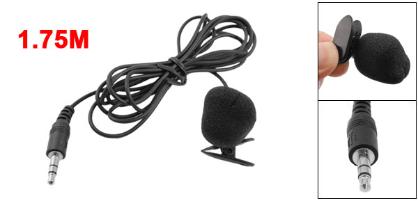 Mini 3.5mm PC Skype MSN Chatting Microphone Black w Collar Clip