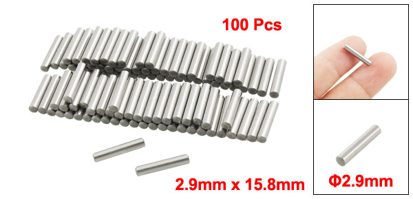 100 Pcs Stainless Steel 2.9mm x 15.8mm Dowel Pins Fasten Elements