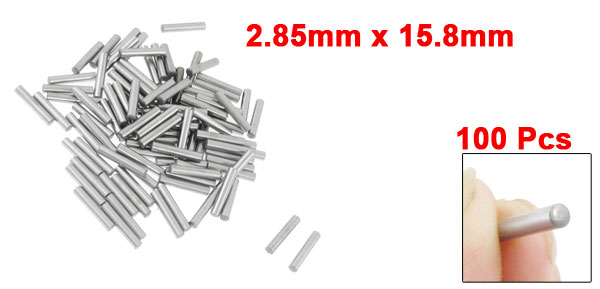 100 Pcs Stainless Steel 2.85mm x 15.8mm Dowel Pins Fasten Elements
